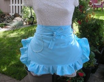 Womens Aprons - Blue Aprons - Blue Half Aprons - Blue Ruffled Aprons - Handmade Blue Aprons - Annies Attic Aprons - Blue Monogrammed Aprons