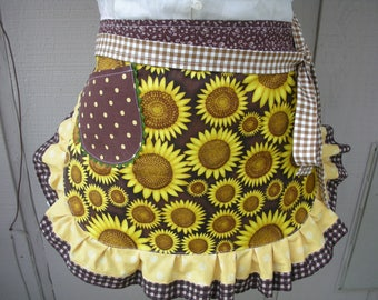 Aprons - Sunflower Womans Aprons - Womens Half Aprons - Yellow Aprons - Yellow Sunflower Aprons - Annies Attic Aprons - Brown Dot Aprons