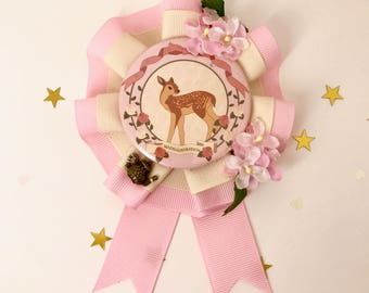 Pink Deer Fashion Rosette Brooch – One of a kind, best in show