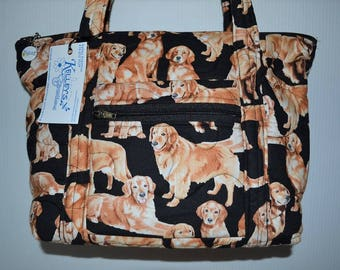 Quilted Fabric Handbag Purse Black with Golden Retriever Dogs