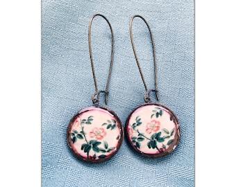 Vintage Rose Illistration Penny Earrings// recycled eco friendly  - Lucky penny earrings - coin earrings jewelry - copper earrings