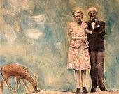 Dear One original large painting vintage couple seniors love deer