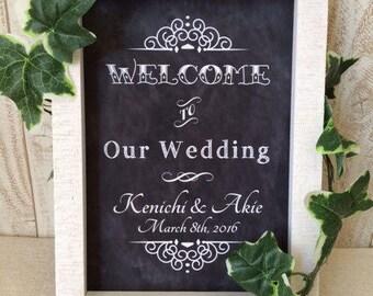 Custom Printable Wedding Chalkboard Sign - A4, Old Fashioned Shabby-chic chalkboard sign