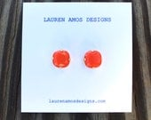 Orange Jewel Post Earrings - small