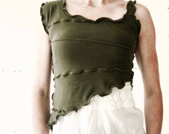 DIFFERENT STRAP TOP  custom, hand made, unique, ruffled, exposed seams, more colors, half top, made for layering, soft, unique, good fabric