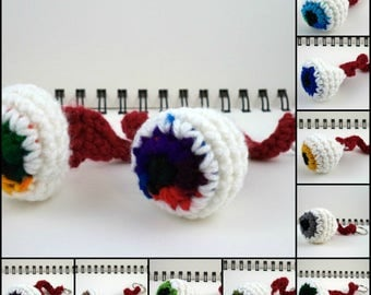 Crocheted Eyeball Key Ring (choose your color)
