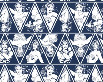 """Wonder Woman 3"""" Tall Triangles in Navy Licensed DC Camelot Fabric By The Yard"""