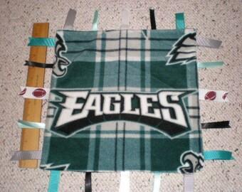 Philadelphia Eagles Fleece Baby Sensory Ribbon Taggie Blanket