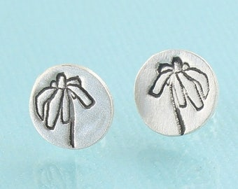 ON SALE Black Eyed SUSANS stud Earrings -  sterling silver posts handmade and illustrated by Chocolate and Steel
