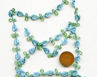 Sweet Floral Trim with Blue Flowers Leaves Vintage 5 yards 4125