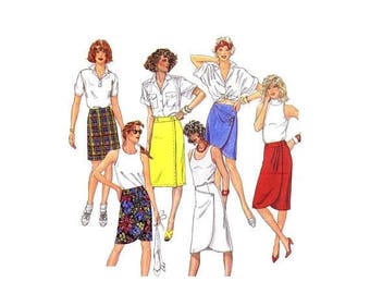 SALE Misses Asymmetrical Skirt Front Wrap Skirt McCalls 2415 Vintage Sewing Pattern Size 8 Waist 24 UNCUT