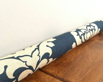 NAVY blue damask door draft stoppers, ornate pattern draft snake, draft dodger