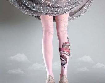 30%off/endsJUL23/ NEW light pink one size Snake full length printed tights closed toe pantyhose tattoo tights by tattoo socks