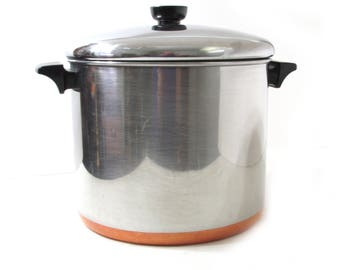 Revere Ware 8 Qt Stainless Steel Copper Clad Bottom Stockpot 93 Vintage Old Cookware