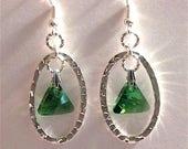 Swarovski Green Shimmer Fire & Sparkle Triangle Earrings - St Patrick's Day