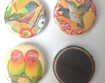 Bird Art Magnet Set, 3 magnets, 1.25 in each, by Jenlo