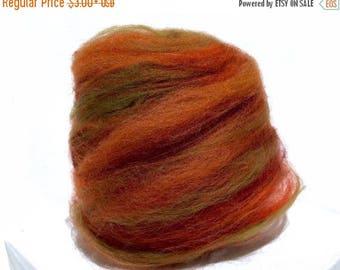 "Tour De Fleece SALE fiber art batt, wool, roving, spinning felting ""Aspen Leaf"" Orange, Gold, Sienna, olive, Halloween, Thanksgiving, Fall A"