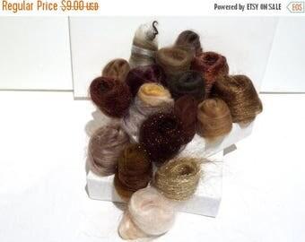 KIT SALE Brown Fiber Art kit Sampler, felting wool, spinning, blending board fiber, Needle Felting kit, brown palette: tan beige taupe choco
