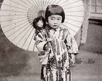 Asian darling little girl with paper parasol* instant digital download