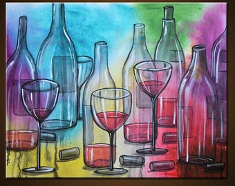 """Art Painting Abstract Modern Dining Room Bar Decor Wine Glasses Bottles ... """"Friday Night"""" 216"""" x 20"""" by Amy Giacomelli"""
