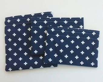 Reusable Snack bag, Sandwich bag, Picnic Lunch bag, with a Swiss cross pattern on Navy Blue, Preppy and Classic for Summer