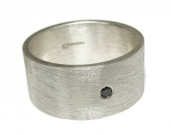 Wide 8 mm sterling silver ring with black diamond - man ring with diamond - matt brushed silver ring