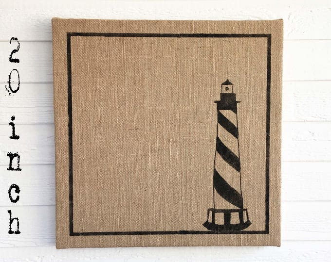 The Cape Lighthouse -  Burlap covered Cork Message Board 20 inch - Pin Board - Memo Board - Bulletin Board - Lighthouse Decor Coastal