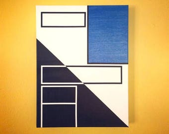 """12x16"""" abstract painting - art, decor, white, blue, navy"""
