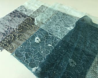 assortment of various smaller sheer lingerie tulle lace / mesh swatches — teal / grey / green — different sizes and patterns