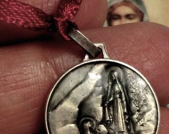 Flash Sale Vintage Silver Blue Accent Our Lady of Lourdes Religious Medal Pendant Apparition