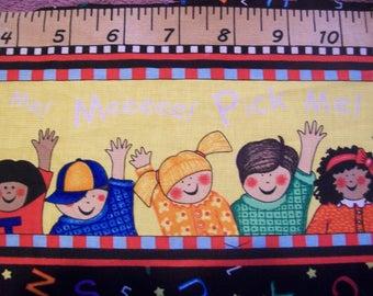 ABC School Days 9 inch fabric remnant strip - by the yard