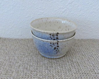 Bowls Set of 2 - Handmade Stoneware Ceramic Pottery - White and Cobalt Blue - Vine - 2 cups