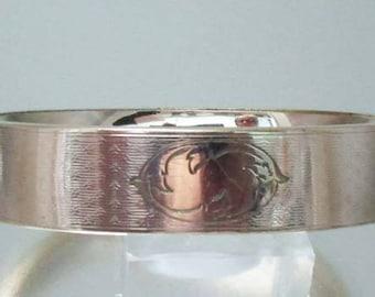 Antique Victorian Gold Filled Etched Wide Bangle Bracelet S.B. Co