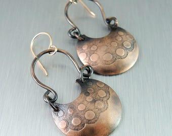 Textured Copper Earrings - Copper Horseshoe Earrings -  Bubble Pattern