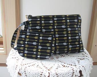 Arrows Smart phone Case Gadget Pouch Clutch Wristlet Zipper Gadget Pouch Bag Made in USA Set