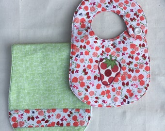 Strawberry Girl Bib and Burp Cloth Gift Set
