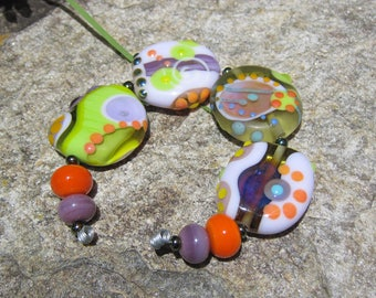 Coral Springs- lampwork bead set- SRA - Art Glass beads~ Lisa New Design