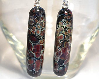 Black organic glass tube earrings, 'Reptilian' lampwork glass beads, handmade art jewelry, argentium silver wire SRAJD art glass
