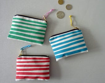 Stripe small purse screenprinted cotton zip pouch