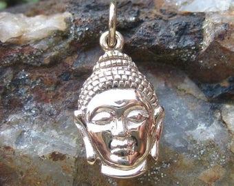 ON SALE TODAY Bronze Buddha Charm - Gold Tone Buddha Head Necklace