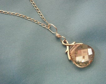 Beautiful But Simple - Golden Crystal Necklace - 14K Gold Filled Chain