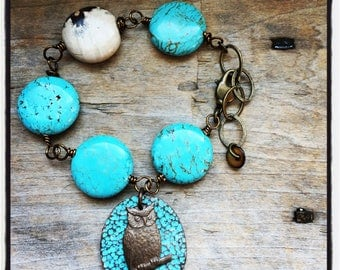 A Real Hoot Turquoise Beaded Owl Bracelet