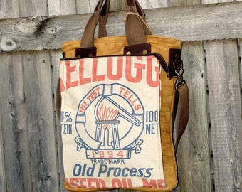 Kellogs Linseed Oil Seeds - Book Tote W- OOAK Canvas & Leather Tote .. Selina Vaughan