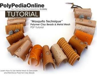 Polymer Clay Tutorial, Polymer Clay Jewelry, Necklace Tutorial, Polymer Clay Beads, PDF Tutorial, Handmade DIY Beads, Fimo Beads, Metal Mesh