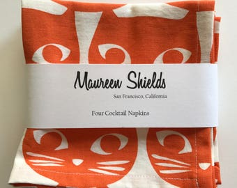 Set of Four Cat Cocktail Napkins-Orange & White Modern Graphic Pattern