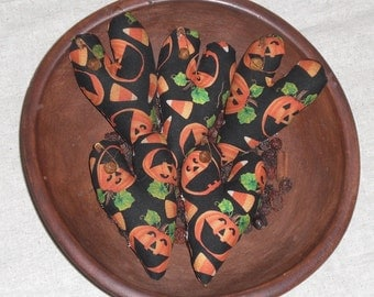 Set of 5 Primitive Rustic Halloween  Jack O Lantern  Candy Corn Hearts Ornies Ornaments Bowl Fillers Tucks Mini Pillows Cupboard Tucks