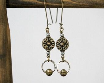 MIxed Metal Antiqued Brass and Silver Earrings, Long Dangling Earrings, Kidney Wire Earrings, Brass Earrings, Metal Kidney Wire Earrings