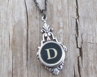 Writer Gift Idea, Typewriter Necklace, Initial D Pendant, Vintage Silver Necklace