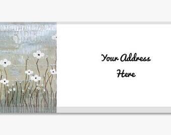Original Artwork Address Label Stickers Sheet of 60 Personalized Landscape Flowers Silver White Gold Modern Customize Housewarming Gift