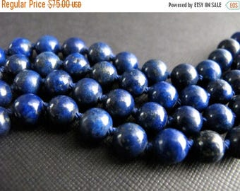 ON SALE Double Wrap Necklace, Hand Knotted Lapis Necklace, Navy Blue Gemstone Jewelry